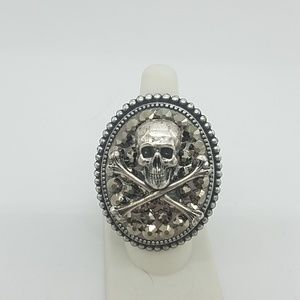 Rhinestone skull bones cocktail ring sample